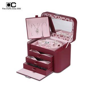 OC开合首饰盒超大容量 多功能欧式公主珠宝饰品收纳盒 中国红TG-032