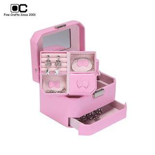 OC开合首饰盒专柜同款欧式公主多层珠宝盒 生日礼物饰品盒 粉色YZM-011