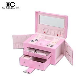 OC开合首饰盒 欧式公主饰品盒 手链项链 首饰收纳盒饰品 粉色YZL-011