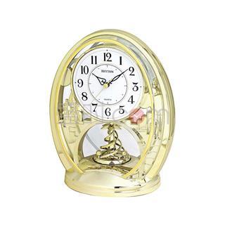 丽声 RHYTHM 创意台钟摆件装饰座钟石英钟 25cm靓金旋转 4SG768WR18