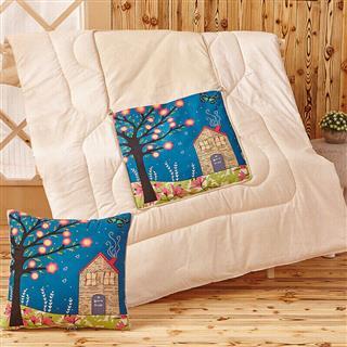 多功能抱枕被两用靠垫午睡被子两用被办公室沙发汽车靠垫被110*150cm(图案随机)
