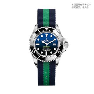 CENSH盛时定制蓝绿蓝经典条纹尼龙帆布表带20*20MM