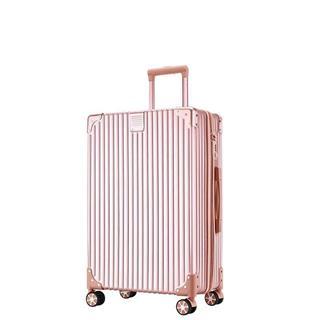 20寸复古直角拉链款旅行箱(玫瑰金色)